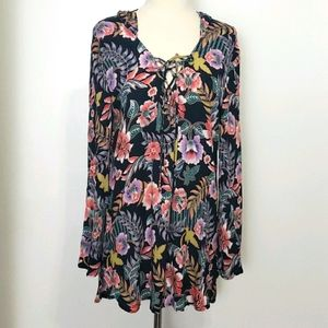 NWT Black Floral Hooded Coverup
